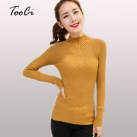 Wholesale Warm Elegant Sweaters - Fashion Women sweaters High Elastic Slim Warm Tight Bottoming Sweater Women Elegant Knitted Pullovers
