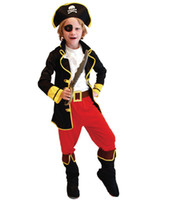 Wholesale Caribbean Performance Costumes - 2016 New Kids Priate Cosplay six-piece sets Pirates of the Caribbean Holloween Cosplay costume for children new years christmas performance