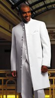 Wholesale Tying Stand - New Style Long White Groom Tuxedos Stand Collar Best Man Groomsmen Mens Wedding Suits 2016 (Jacket+Pants+Vest+Tie)