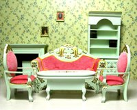 Wholesale Wood Living Room Furniture Sets - 1:12 Scale 6 pcs Dollhouse Miniature Living Room Furniture set Doll's house Armchairs Couch Fireplace Bookcase Sofa kits Figure Toy Gift