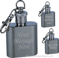 Wholesale keyring logos resale online - FREE Engraved Personalised oz Stainless Steel Hip Flask Keyring and logo free each flask in one black box