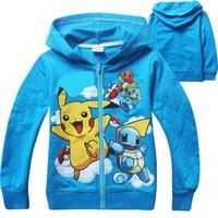 Wholesale Blue Turtle Kids - Boys Poke go Pikachu Hoodies Sweatshirts 2 Color children Bulbasaur Jeni turtle Poke Ball Long sleeve Hoodie jacket kids coat B001