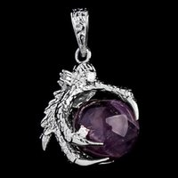 Wholesale Dragon Charms Pcs - Wholesale-1 Pcs Silver Plated Dragon Claw Wrap Ball Beads Charm Pendant Necklaces