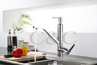 Wholesale Soap Dispenser Deck Mount - Free Shipping New Design Faucet Chrome Silver Swivel Kitchen Sink Mixer Tap Kitchen Faucet Vanity Faucet With Soap Dispenser 4201