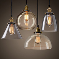 lâmpadas de teto de vidro vintage venda por atacado-NOVO MODERNO VINTAGE INDUSTRIAL RETRO LOFT GLASS TETO LÂMPADA SOM PINGENTE LUZ CINCO ESTILOS PARA COZINHA ILHA