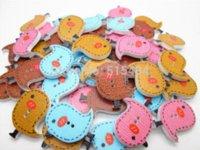 Wholesale Bird Sewing Pattern - 100Pcs Random Mixed Bird Pattern Painting Wood Buttons 2 Holes Sewing Knopf Scrapbooking 26x23mm M67384