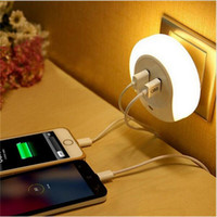 Wholesale Usb Wall Plates - Smart Design LED Motion Night Light with Light Auto Sensor Dual USB Wall Plate Charger Socket Soft Lamp for Bathrooms Bedrooms Decor