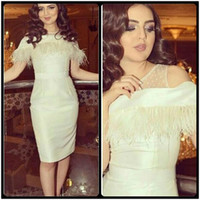 Wholesale cheap feather cocktail dresses - Ivory Feather Short Prom Dresses 2017 Simple Stain Knee Length Cocktail Gowns Cheap Short Sleeve Prom Party Dress