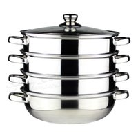 Cheap Wholesale-FREE SHIPPING STAINLESS STEEL cooking steamer pot 4 layer inox cookware set kitchenware inox cooker set