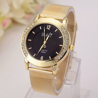 Wholesale Set Watch Men Woman - Foreign trade sales Golden mesh belt set auger female table Geneva watches men and women watches the spot promotion gifts