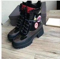 Wholesale Red White Blue Platform Heels - Womens Platform Boots Euro 35-42 Cow leather Combat Desert Palm Kanyon Boot