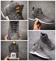Wholesale Mens Gray Boots - 2017 New Air Retro 12 XII Men Basketball Shoes Cheap Grey Gray Retros 12s Boots Mens Sneakers Athletic Trainers Basket ball Sports Shoes