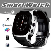 Wholesale Man Tracker - For Android New T8 Bluetooth Smart Pedometer Watches Support SIM &TF Card With Camera Sync Call Message Men Women Smartwatch Watch