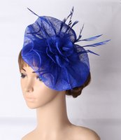 Wholesale Fascinator Accessories - Fancy color sinamay occasion fascinator headpiece feather wedding headwear race hair accessories millinery church hat MYQ126