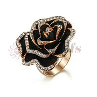 Wholesale Black White Painting Set - Yoursfs 18K Rose Gold Plated Crystal Bump Black Painting Flower Ring Use Austrian Crystal Fashion Jewelry