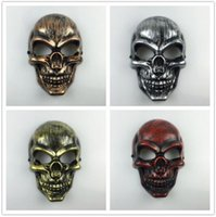 Wholesale halloween plastic skeleton - Plastic Horror Skeleton Warrior Mask Full Face CS Ghost Mask for Halloween Party Supplie Masquerade Mask