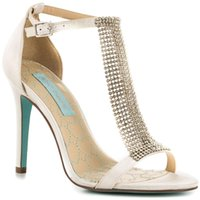 Wholesale Wedding Flat Sandals For Women - Ivory Satin Wedding Shoes T-strap Sandal For Women Made-to-order Women Sandals Rhinestones Crystal Ankle High Formal Party Dancing Shoes