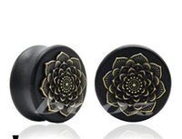 Wholesale Gauges For Sale - 48 pcs lot new design for tunnel free wood ear gauges plugs piercing tunnel body jewelry 10-25mm black expanders drop shipping hot sale