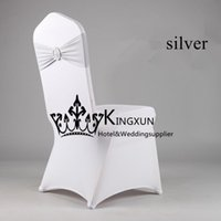 Wholesale Color Chair Cover - White Spandex Chair Cover \ Lycra Chair cover With Silver Color Lycra Band\Spandex Chair Band With Buckle