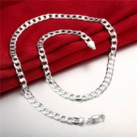 Wholesale China Flats Crystal - Cheap 6MM flat sideways necklace Men sterling silver necklace STSN047,fashion 925 silver Chains necklace factory direct sale christmas gift