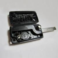peugeot için anahtar olay toptan satış-3 Düğmeler Uncut Blade Çevirme Katlanır Uzaktan Anahtar Kutu Kabuk anahtar koruma kapak Değiştirme PEUGEOT 207 307 407 308 607 için sıcak