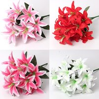 Wholesale Silk Flowers For Wedding Lily - Artificial 10 Head Perfume Lily Silk Flower Leaf Stem For Wedding Bridal Bouquet Home Office Decoration
