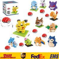 pacote de tijolos venda por atacado-New pikachu pokachu building blocks diy blocos de tijolos de diamante crianças crianças inteligência do bebê educacional partículas brinquedos presentes caixa pacote zj-b08