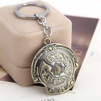 Wholesale Dota Figures - DOTA key rings Immortal Champion Shield Key Chain Aegis of Champions Car Key Chain For Men Jewelry Accessories Gift Wholesale