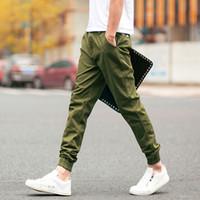 ingrosso estate degli uomini di stile coreano di modo-All'ingrosso-2016 moda casual pantaloni da uomo jogging pantaloni stile coreano slim fit estate uomo pantaloni da uomo nero blu
