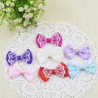 Wholesale Lace Applique Japan - Japan And South Korea Mix Color Satin Ribbon Bows With Lace Wedding Flowers Appliques Children Bowknot Hairpin Wedding Decorations