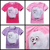 Wholesale Christmas Fashion Tshirts - 2016 The Secret Life of Pets summer girls T-shirt short sleeve baby girl Tshirts purple pink red girl's top tees animal bird kids clothing