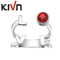 Wholesale Cz Adjustable Ring - KIVN Womens Fashion Jewelry Luxury LOVE Adjustable Red CZ Cubic Zirconia Rings Promotional Mothers Day Birthday Christmas Gifts