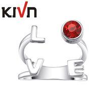 ingrosso regali promozionali dei monili-KIVN Womens Jewelry Luxury LOVE Regolabile Red CZ Cubic Zirconia Anelli Promozionale Festa della mamma Compleanno Regali di Natale