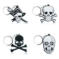 Wholesale skull keychains - 10pcs Pirates Skull High Quality Bright Color Cartoon PVC Keychain Key Ring Bag Fashion Accessories Packed in Gift Bag Kawaii Party Favors