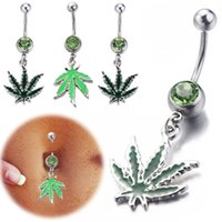 Wholesale Pot Leaf Body Jewelry - Belly Button Rings Pot Leaf Dangle Body Piercing 14G Belly Button Ring 1.6mm Belly Rings for Women Body Piercing Jewelry
