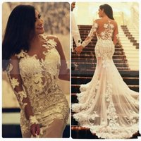 Wholesale transparent image party - 2018 Arabic Mermaid Lace Wedding Dresses with Long Transparent Sleeves Crew Neck Applique Vintage Informal Wedding Party Dress