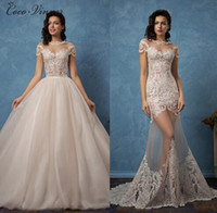 Wholesale one strap mermaid wedding dresses - C.V Two in One Detechable Tail Mermaid Wedding dresses 2017 New High Neck Illusion Lace Appliques Short Sleeve Sexy Bridal Dresses W0077