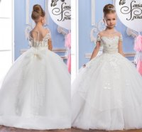 Wholesale New Girls Christening Gown - 2017 New Flower Girls Dresses For Wedding Lace Appliques Pearls Beaded Ball Gown Bow Sheer Floor Length Children Kids Party Communion Gowns