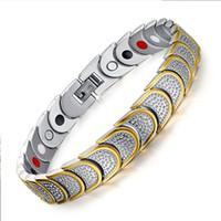 Wholesale Ion Heart - Hot Sale Gold Silver Bracelet Mens Women's Bio Magnetic Negative Ion Germanium Bracelet&Bangle Heart Squamiform Protect Design Jewelry Men