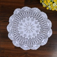 Atacado- LINKWELL 1PCS 100% Algodão Handmade Crochet Doily Doilies Cup Holder Mat Pad Table Coaster Tabletop Placemat 33cm Round White
