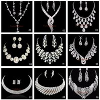 Wholesale Hot Sale Style Shining Rhinestones Crystals Wedding Party Bridal Bridesmaid Necklace and Earrings Jewelry Set In Stock