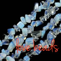Wholesale Oval Lapis Beads - Gravel Stone Natural White Opal beads Chips Beads 5mm-8mm Irregular Loose Beads Strand 80CM For wholesale(F00332) wholesale