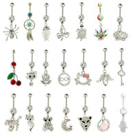 Wholesale Girls Belly Sexy - Wholesale Mix Styles Belly Button Ring 316L Steel Navel Ring Sexy Body Piercing Jewelry Piercing Navel Ring