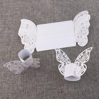 Vente en gros - 50pcs Butterfly Style Laser Cut Porta Guardanapo Serviette en papier ivoire Anneaux Supports Party Wedding Favors Décoration de table