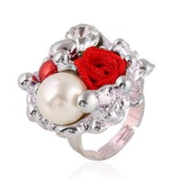 ingrosso grandi anelli economici-ZE Economici Big Crystal Rose Flower Donne Regolabili Festa di nozze in oro-colore gioielli Anelli dito Bijoux homme