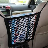 Wholesale car trunk luggage - 28x25cm Universal Car Seat Back Storage Mesh Net Bag Luggage Holder Pocket Sticker Trunk Organizer Strong Magic Tape Accessories