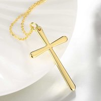 Wholesale Men S Cross Pendants - Long Chain Necklace 18K Gold Plated Classic Corss & S Pendant Fashion HipHop lady Accessories Women Men Girls Jewelry Wholesale