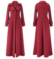 Wholesale Thick Green Trench Coat - New Women Wool Overcoat fashion Lapel Neck Single Button Slim Winter Long Coats Windbreaker Lady Thicken woolen Trench Coat