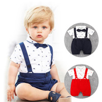 Wholesale Design Romper Infant - RMY30 NEW 2 Design infant Kids Gentelmen style Cotton Cool short sleeve Straps Romper baby Climb clothing boy girl Romper +hat free ship