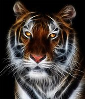 Wholesale Tiger Abstract Canvas - Diamond mosaic full round diamond embroidery needlework animal white tiger diy diamond painting cross stitch kits Mosaic Home Decor yx0194
